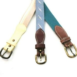 Lot Of 3 Vintage Canvas Fabric & Leather Belts